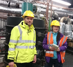 Dr Stuart Gilfillan and Dr Steph Flude collecting samples of captured CO2 from the UKCCSRC PACT facilities as part of the study