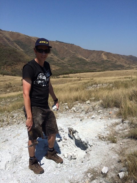 Bongwana Nigel Hicks Council for Geoscience South Africa investigating the white kaolinite clay resulting from fluid rock interaction